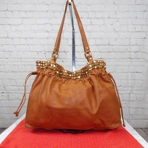 Tory Burch Linden Leather studded drawstring tote